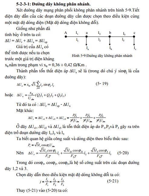 Chọn tiết diện dây theo mật độ dòng điện không đổi-1