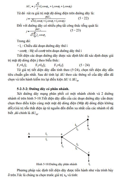 Chọn tiết diện dây theo mật độ dòng điện không đổi-2