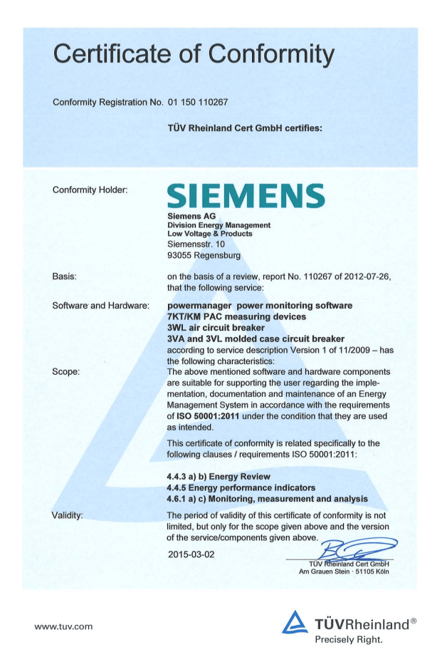 Hệ thống PMS Siemens được cấp chứng chỉ từ TUV