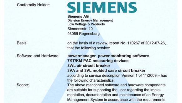 hệ thống quản lý điện năng chứng chỉ TUV
