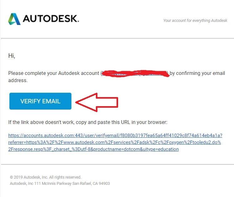 Kích hoạt email xác nhận tài khoản Autocad