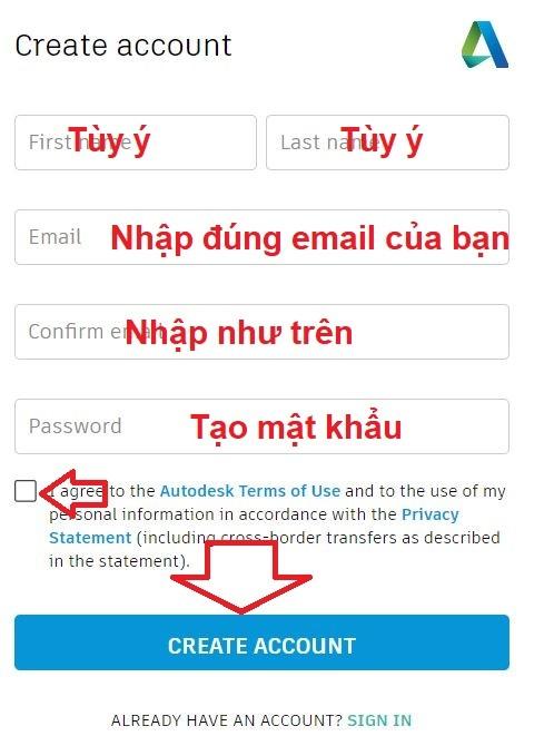 Tạo tên đăng nhập tài khoản autocad