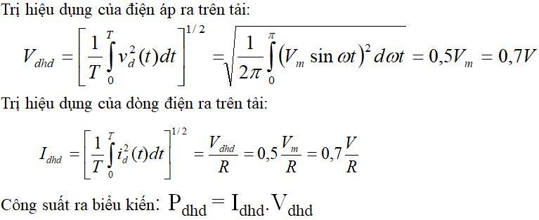 Công thức tính cho mạch chỉnh lưu nửa chu kỳ tải thuần trở - 2