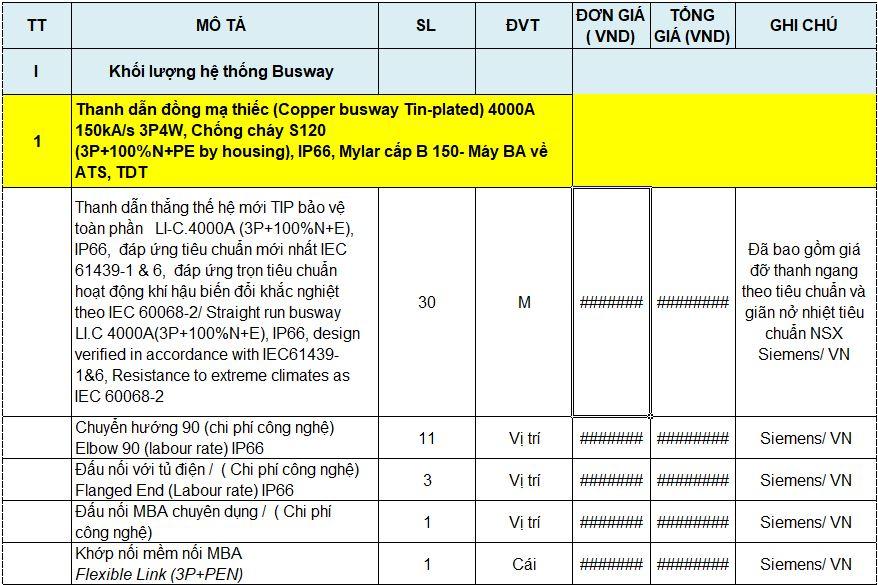 Mẫu báo giá hệ thống thanh dẫn Busway Siemens