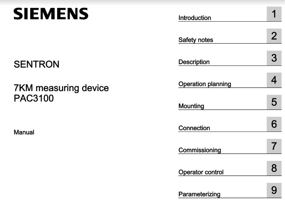 Tài liệu Sentron PAC3100 manual siemens pdf
