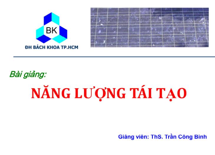Giáo trình năng lượng tái tạo - Trần Công Binh