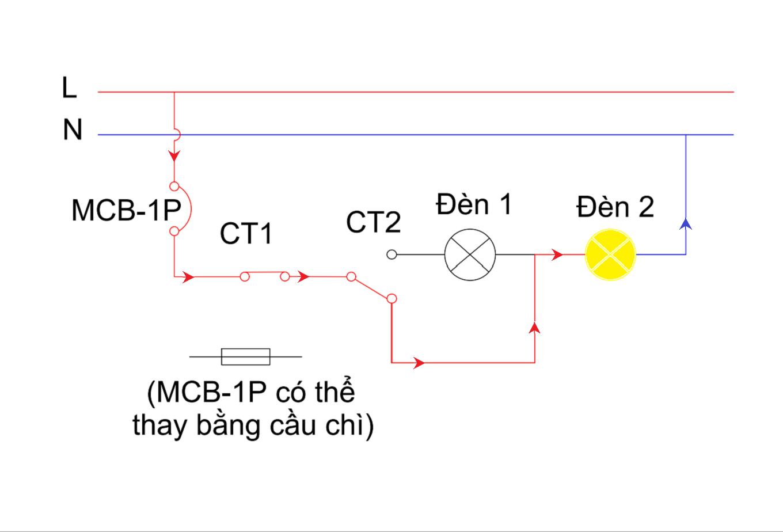Mạch đèn sáng tỏ sáng mờ - chế độ 2