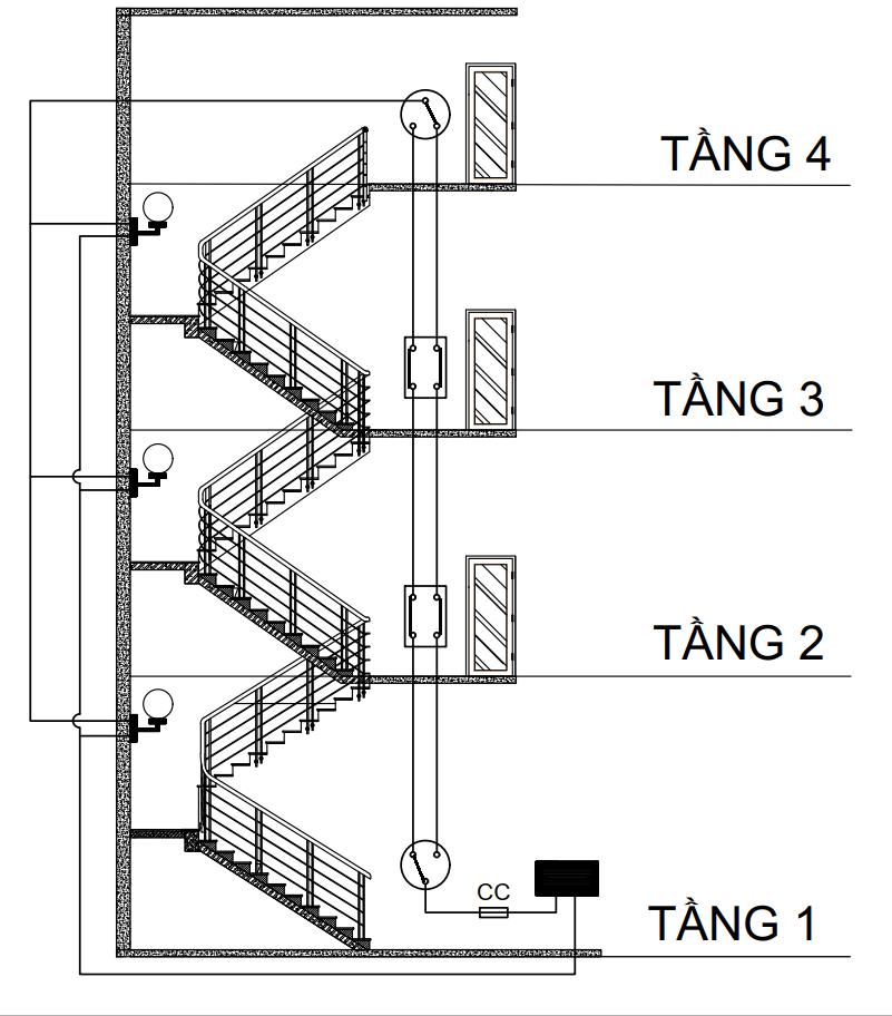 Sơ đồ mạch điện cầu thang 4 tầng