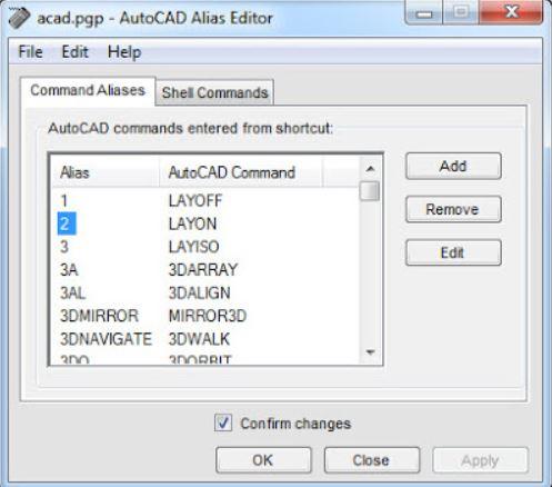 Bảng Acad trong Autocad Alias Editor
