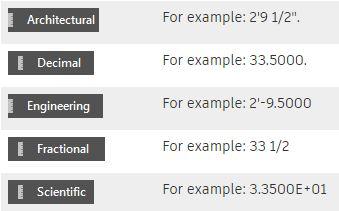 Ví dụ một số kiểu đơn vị trong CAD