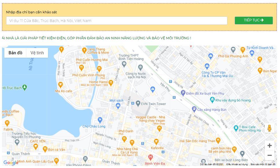 Hướng dẫn nhập địa chỉ trong ứng dụng tính toán điện mặt trời